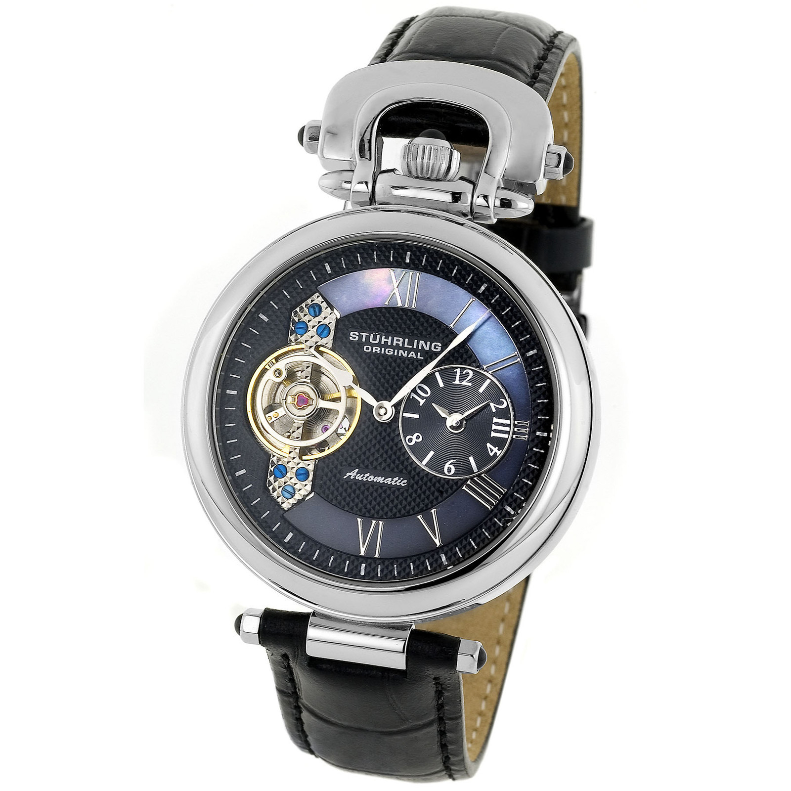 Stuhrling 127 33151 Automatic Dual Time Black Dial Mens Watch