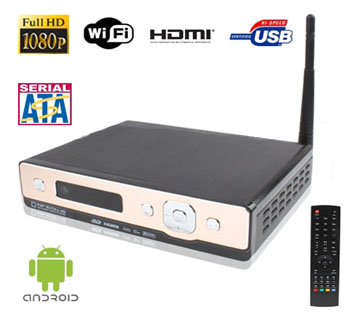 1080P Full HD Android OS 2.2 TV Box with WIFI, External 3.5 inch SATA Hard Drive, LAN + HDMI Interface;Support USB Flash Disk and Remote Control