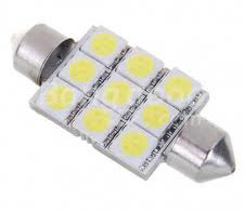 1136 1W/12-24V 126-Lumen 9x5050 SMD LED Car Festoon White Light