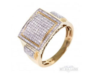 14k Yellow gold, Round brilliant cut diamond Hiphop Men's Paved Right hand ring