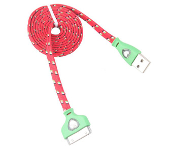 1M 3Ft Fabric Flat Noodle USB Data Sync Charger Cable Cord for iPhone 4 4G 4S 3G