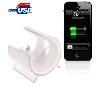 2 in 1 (Lightning 8 Pin USB Sync Data / Charging Cable + Universal Holder) for iPhone 5 / iPod Touch 5, Length: 1m (White)