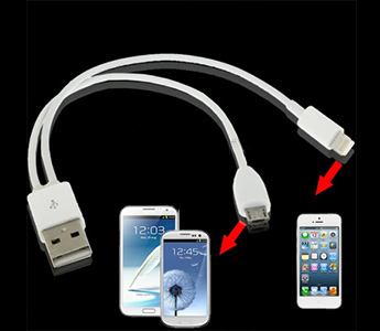 2 in 1 USB 2.0 to Lightning 8 Pin Male & Micro 5 Pin Dual Charger Sync Data Cable