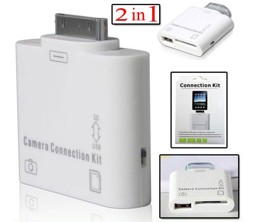 2-in-1 Camera Connection Kit with Card Reader for iPad - White