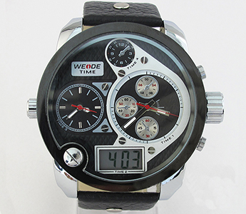 2012 Trendy Black Sub-dial Design 4 Time zone Leather Strap Electric Men's Watch (New)