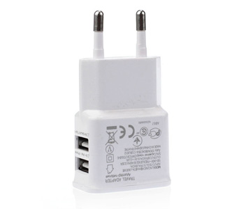 2A Dual 2Ports USB EU Wall Charger Adapter for Samsung iPhone HTC MOTO (White)