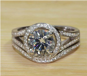 2.5CTTW 2CT Center Round Cut NSCD Simulated Diamond Wedding