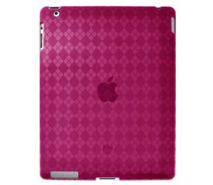 Amzer Luxe Argyle High Gloss TPU Soft Gel Skin Case for Apple iPad 2 (Hot Pink)