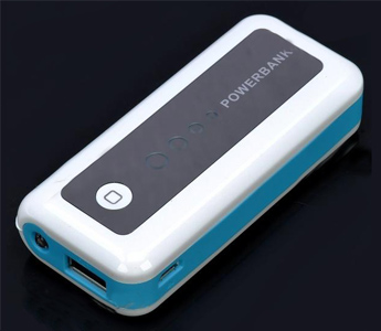 5600mAh Mobile External Power Battery Pack w/ White lED Light & Charging Adapters - White + Blue