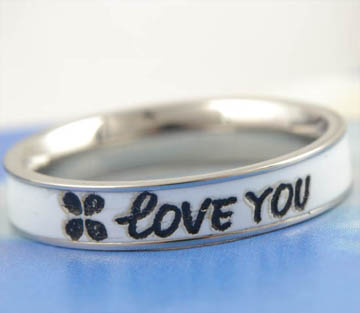 "9K White GF ""Love You"" Mens Unisex Band Ring,size 7,W356"