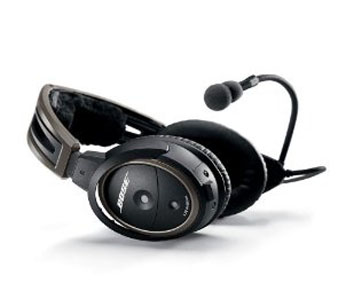 Bose A20 Aviation Headset (Aircraft-powered w/Bluetooth, Electret mic, Straight cord, 6-pin plug)