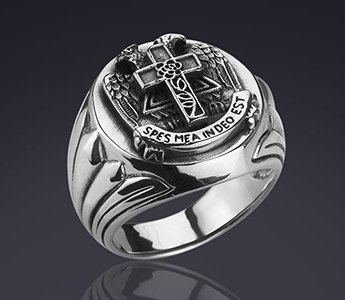AASR 32 Degree Master Masonic Silver Ring Spes Mea In Deo Est