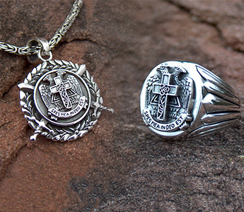 AASR Scottish Rite Masonic Jewellery Set Ring & Pendant - 925 Sterling Silver