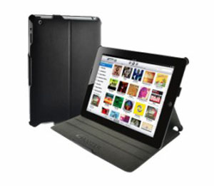 Amzer Shell Portfolio Case - Black Leather Texture For Apple iPad 2