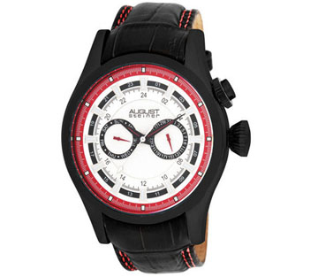 August Steiner AS8005R Swiss Chronoraph GMT Leather Strap Mens Watch