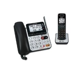 AT&T 84100 DECT 6.0 Corded/Cordless Phone, Black/Silver, 1 Base