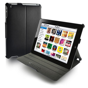 Amzer Shell Portfolio Case for Apple iPad 2 (Black Carbon Fiber Texture)