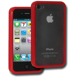 Amzer TPU Hybrid Case for iPhone 4 (Red)