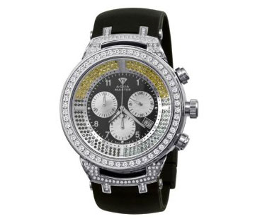 Aqua Master Power Canary Round Diamond Watch with Rubber Band, 4