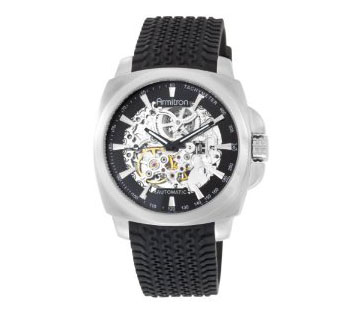 Armitron 204455SVSV Automatic Silver-Tone Skeleton Dial Rubber Strap Watch