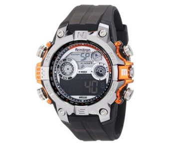 Armitron Men's 40/8251ORG Round Metalized Orange Accented Digital Sport Watch
