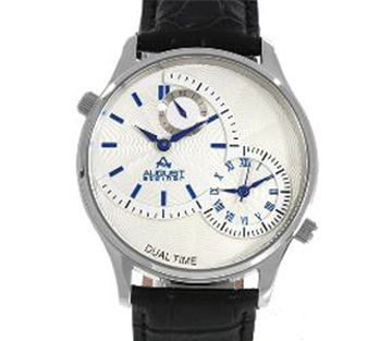 August Steiner AS8010BU Dual Time Blue Leather Strap Mens Watch