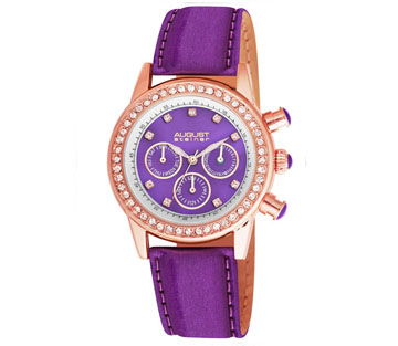 August Steiner AS8018PU Crystal Bezel Multi Function Purple Womens Watch