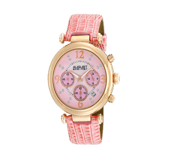 August Steiner AS8032PK Crystal MOP Chronograph Strap Womens Watch