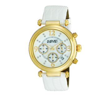 August Steiner AS8032WT Crystal MOP Chronograph Strap Womens Watch