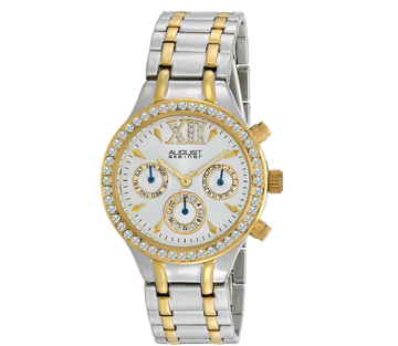 August Steiner AS8040TTG Crystal Multifunction Bracelet Womens Watch