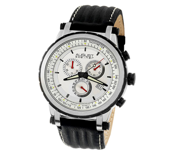 August Steiner ASA814BK White Dial Quartz Chronograph Mens Watch