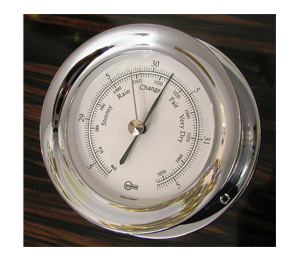 Barigo 1135Cr Barometer with White Dial and Chromed Brass Case (Matches 1137Cr and 1139Cr)