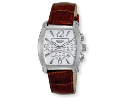 Bellagio Mens Stainless Steel Chronograph Date Leather Strap Wat