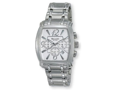 Bellagio Mens Stainless Steel Chronograph Date Bracelet Watch