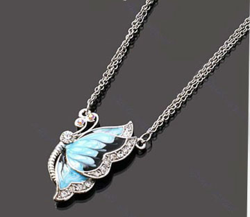 Fashion Charm Crystal Butterfly Pendant Necklace Blue Dual Chain