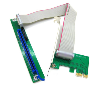 Fixable PCI-E 16X to 1X Adapter Riser Cable w/ SATA 15 Power Connector & Bracket