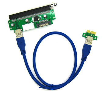 Fixable PCI-E 16X to 1X Adapter USB 3.0 Riser Cable w/ Molex 4 Pin Connector