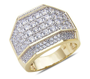 Men's 2 3/4CT Diamond Fashion Ring in 14k Yellow Gold with a Cage Back