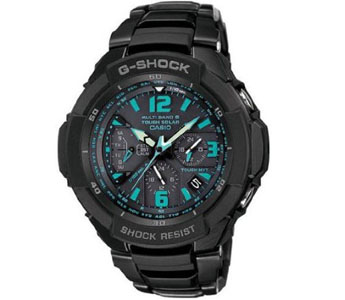 Casio G Shock Quartz Black/Blue Dial Black Band - Men's Watch