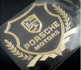2pcs Golden Ultrathin Metal Car Sticker Emblems Badges For Porsche Auto