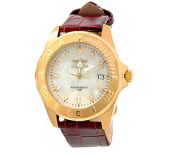 Invicta 0007 Pro Diver SS Case MOP Dial Burgundy Leather Strap Mens Watch