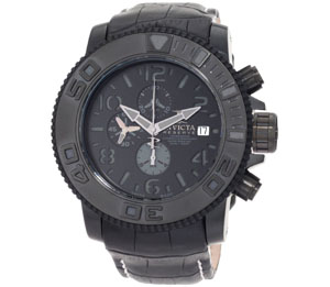 Invicta Men's 0604 Reserve Automatic Chronograph Black Leather W