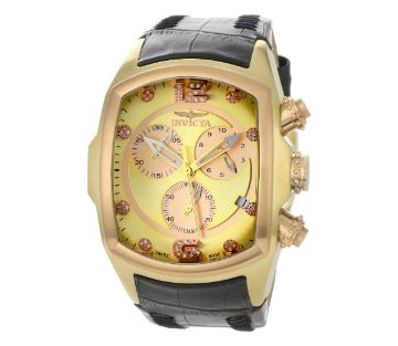Invicta Men's 6742 Lupah Chronograph Diamond Accented Black Leat
