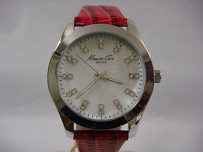 Kenneth Cole White Mop Dial Crystals Leather Strap Ladies Watch KC2681