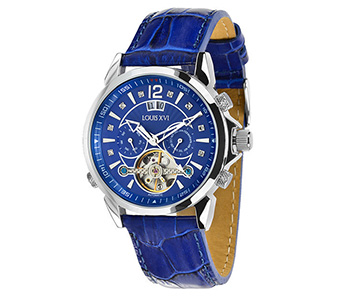 "Louis XVI ""ATHOS Le Bleu"" Mechanical Automatic, Crystal Sapphire Glass"