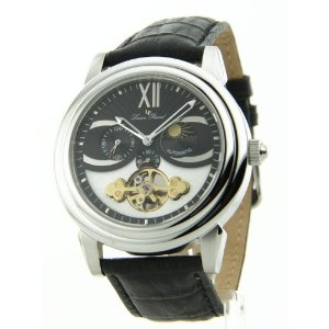 Lucien Piccard Men's AUTOMATIC Collection Black Leather See Thro