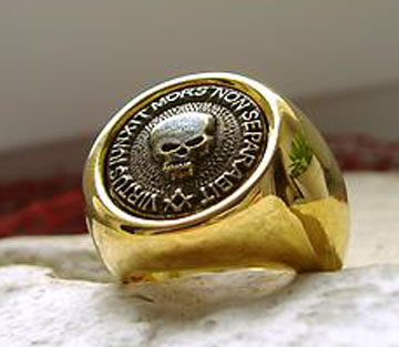 AJS Masonic Ring Surgical Steel 316l + 24K Plated Gold mason Lodge Degree -M1G