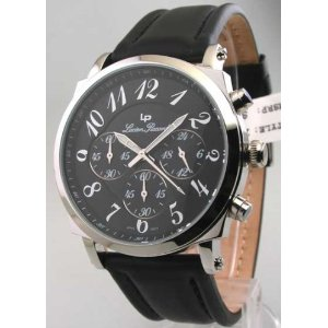 LUCIEN PICCARD LEATHER 24 HR CHRONOGRAPH WATCH 26958BK