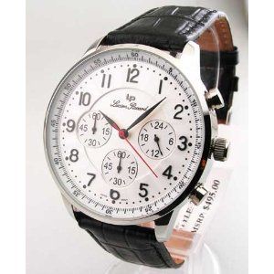 LUCIEN PICCARD LEATHER CHRONO WATCH 26957BK