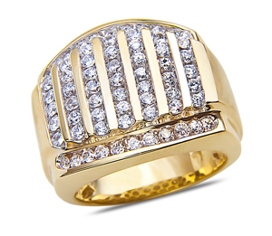 Men's 2CT Diamond Fashion Ring in 14k Yellow Gold with a Cage Back